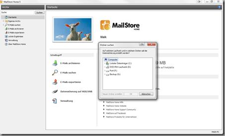 MailStore Datensicherung